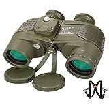 NOCOEX 10X50 Prismáticos Marinos para Adultos Impermeable con Brújula Brújula BAK4 a Prueba de Niebla Prism Lens Binocular Militar para Navegación Observación de Aves y Caza,con Correa Tipo Arnés