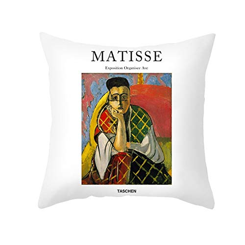 PPMP Matisse Aceite Funda de cojín Pintura al óleo sofá Funda de Almohada decoración del hogar Funda de cojín Decorativa Funda de Almohada abrazadora A4 45x45 cm 2pcs