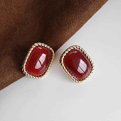 SALAN Elegante Quadrato Rosso Grandi Orecchini Clip Barocco Bellissimo Orecchino Geometrico per Le Donne