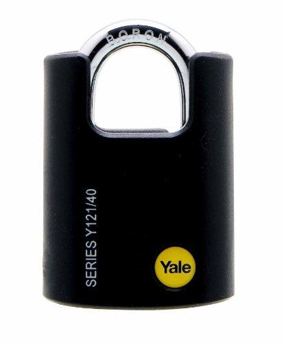 Yale Y121/40/125/1 – Sicherheits-Vorhängeschloss, 40 mm, schützender Henkel, 3 Schlüssel – für Kette, Tür, Werkstatt, Werkzeugkiste