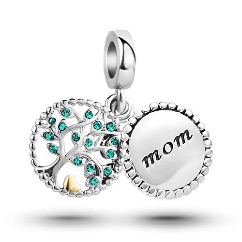 MiniJewelry Mom Family Tree Dangle Charm for Bracelets fits Pandora Charms Bracelets Tree of Life Women Green Crystal
