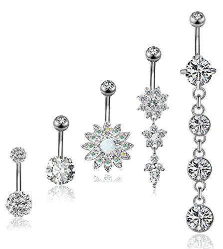 YOVORO 5PCS 14G 316L Stainless Steel Dangle Belly Button Rings for Women Navel Rings Curved Barbell Body Piercing S