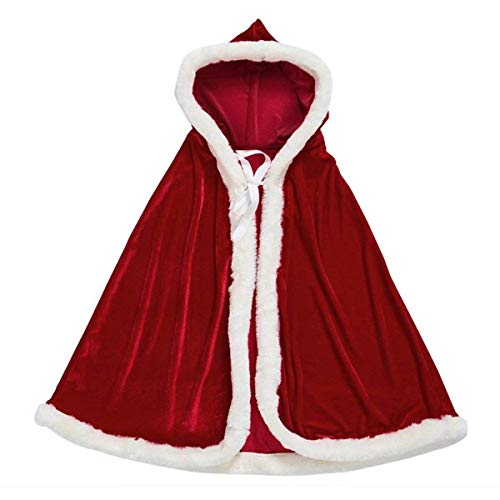 AOFITEE Unisex Kids Cute Santa Cloak Velvet Hooded Cape Robe Christmas Costume, 31.5 inches