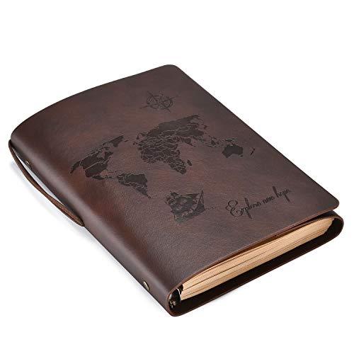 SEEALLDE Cuaderno de piel B6 páginas en blanco diario cuaderno mapamundi diario de viaje vintage cuaderno de notas cuaderno (Café B6)