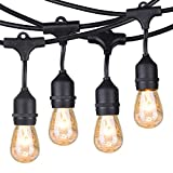 Brightown Outdoor Patio String Lights 48Ft Weatherproof Commercial Grade Hanging Lights with 15 S14 Edison Bulbs, UL Listed Connectable Strand for Backyard Porch Bistro Tent Party, E26 Base, Black