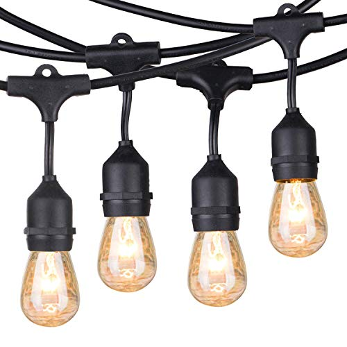 Outdoor Patio String Lights 48Ft Weatherproof Commercial Grade Hanging Lights with 15 S14 Edison Bulbs, UL Listed Connectable Strand for Backyard Porch Bistro Tent Party, E26 Base, Black