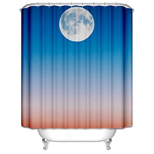 Aeici Duschvorhänge 180X180CM Mond Polyester Bad Vorhang Waschbar Weiß Schwarz Duschvorhang für Badezimmer