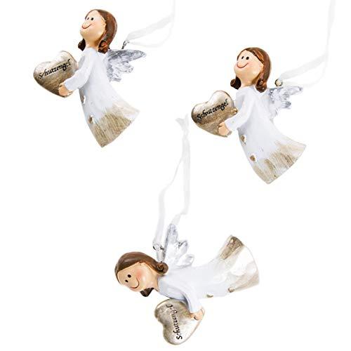 Logbuch-Verlag 3 Schutzengel Anhänger Engel zum Aufhängen 6,5 cm Schutzengelfigur Gold weiß Glücksbringer Talisman Herz Weihnachten Silvester Neujahr Baumbehang