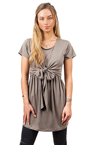 sofsy Soft-Touch Rayon Blend Tie Front Nursing Top Maternity Fashion Olive Green 2 - Small