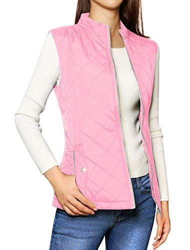 Allegra K Chaleco Acolchado para Mujer Cuello Alto Cremallera Frontal Bolsillos Inclinados Rosa L