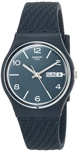 Swatch Unisex Erwachsene Analog Quarz Uhr mit Silikon Armband GN725