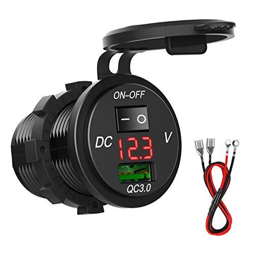 Auto USB Steckdose mit QC 3.0, SONRU KFZ USB Ladegerät 5V/3A Schnellladung mit LED Voltmeter und Schalter, wasserdichte und Staubdicht, für 12V~24V KFZ Boot Motorrad SUV Bus LKW Wohnwagen Marine