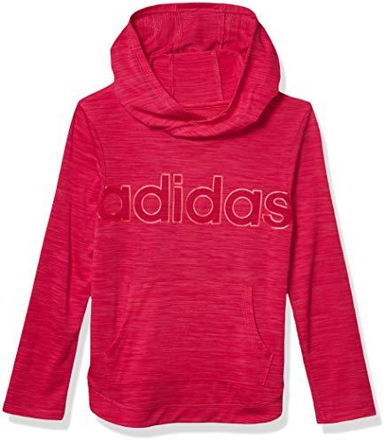 adidas Girls' Big Long Sleeve Hooded Tee T-Shirt, Melange Real Magenta Heather, XL