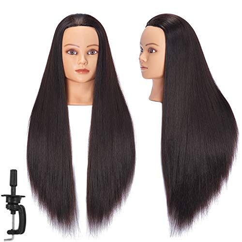 """Headstar Mannequin Head 26-28"""" Synthetic Fiber Manikin Head Hairdresser Styling Training Head Training Model Cosmetology Doll Head Hair for Practice Cutting Braiding with Free Clamp Stand 7E6606LB0220"""