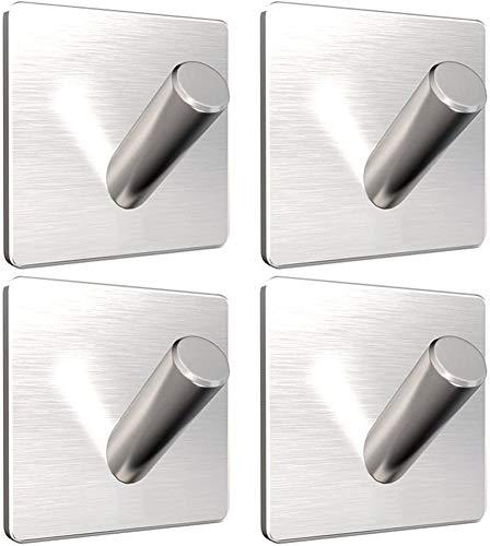 Ganchos de acero inoxidable premium para toalla, Paquete de 4, gancho de ducha autoadhesivo sin óxido con adhesivo 3M, Sin perforación, Ideal como soporte de albornoz, Bathroom, Towels, Hooks, Home