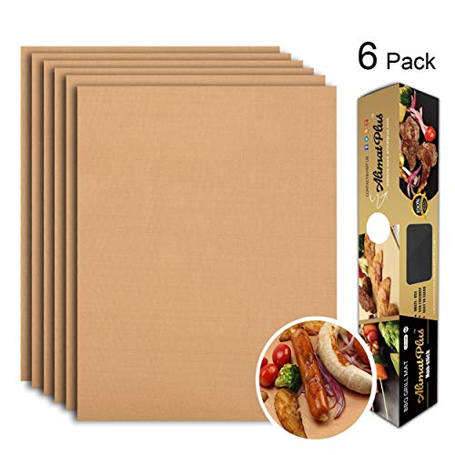 Alimat PluS Grill Mat Set of 6 - BBQ Grill Mats Nonstick Reusable - Heavy Duty 1.5 oz/Sheet, Easy-Clean, Works on Electric Grill, Gas, Charcoal, Oven - 15.75 x 13 Inch, Copper Floor Grill Mats Pads