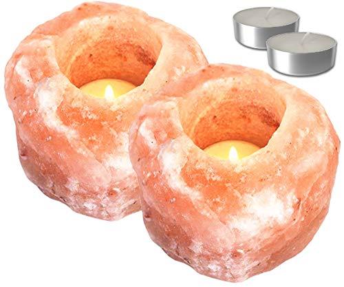 Set Portavelas de Sal del Himalaya   Porta Velas Decorativo y Relajante   2 Piedras de Sal Rosa del Himalaya + 2 Velas de té   Peso Variable de 700 gr. a 1,2 Kg (2 Uds.)