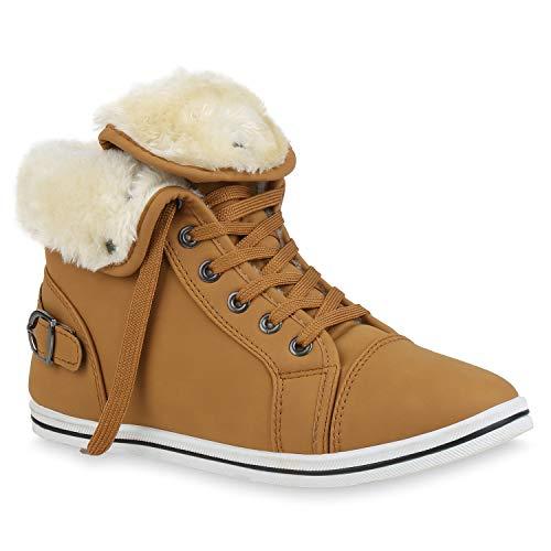stiefelparadies Warme Damen Sneakers Winter Sport Schnürer Gefüttert Schuhe 127499 Hellbraun Schnürer 40 Flandell