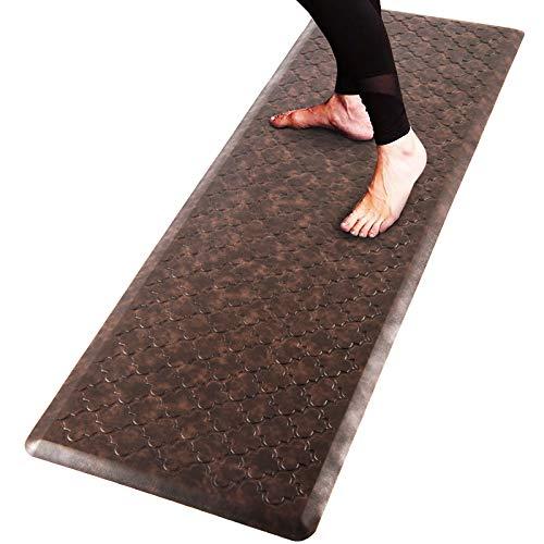 "Pauwer Oversized Anti Fatigue Comfort Mat for Kitchen Floor Standing Desk Thick Cushioned Kitchen Floor Mats Non Slip Waterproof Kitchen Runner Rug Comfort Standing Mat 20""x60"",Brown"