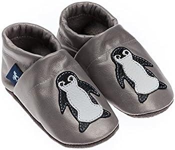 Pantau IT'S A SMALL WORLD Patucos de piel con pingüino, para niños y adultos, 100% piel, hechos a mano, color Gris, talla 28 EU