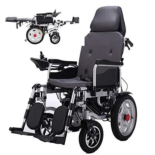 SKSNB Klappbarer Hochleistungs-Elektrorollstuhl mit Kopfstütze Verstellbare Rückenlehne und Pedal, Joystick, Antrieb mit elektrischer Energie oder Verwendung als manueller Rollstuhl, gra