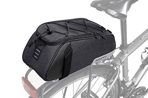 Roswheel Bike Rear Seat Bag, Bicycle Backseat Bag Cycling Pannier Rear Rack Trunk Bag Chest Bag Water Resistant 7L Massive Capacity for Outdoor Traveling Hunting Commuting (Black)