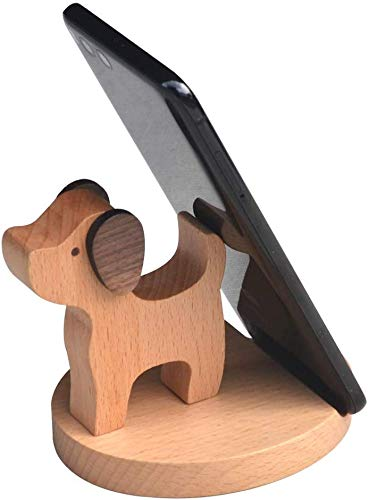 Cell Phone Stand Wooden Phone Holder Dog Smartphone Desk Holder for Smartphone,iPhone,Ipad and Tablets