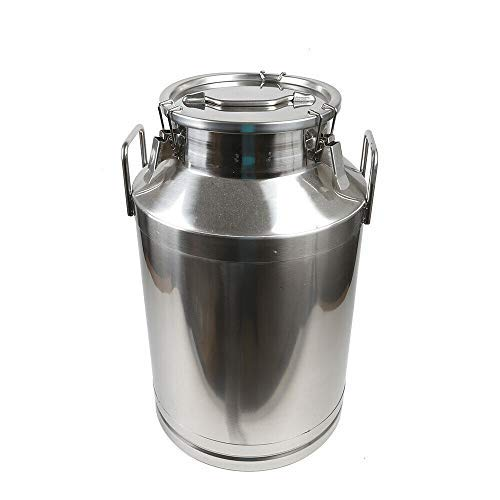 60L Stainless Steel Farm Milk Can Wine Pail Dairy Pot Bucket Tote Jug Milk Bottle Oil Barrel Tea Canister Silicone Seal with Carry Handle USA Stock