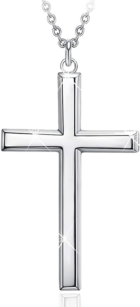 Men's Tucson Mall S925 Sterling Import Silver Cross Silv Pendant 24 Inches Necklace