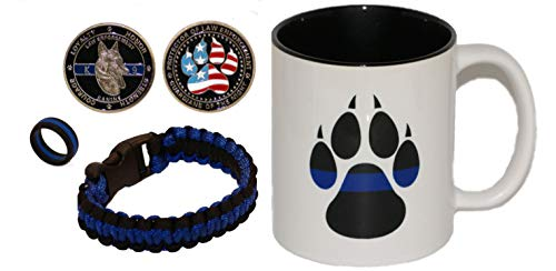 Police K9 Coffee Cup | K9 Claw | Police Gift | Police K9 Challenge Coin | 10' Police Paracord | Size 10' Silicone Ring | Police Gift | Thin Blue Line Coffee Cup | Police Dog Challenge Coin