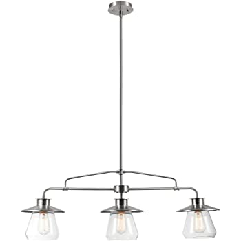 Globe Electric 60467 Nate 3 Brushed Steel Pendant Light with Clear Glass Shades