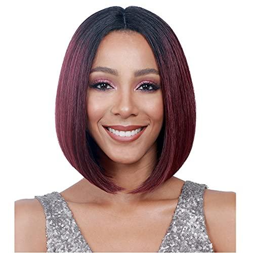 Perücke,Perücke Europäisches und Amerikanisches kurzes glattes Haar der Frauen, chemisches Faserhaar, das schwarze burgunderfarbene kurze Haarabdeckung des...