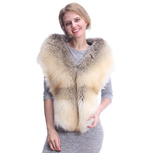 URSFUR Pelzkragen Schal Wrap Kragen Stola für Damen,Echtem luxuriös Fuchsfell Langer Schal,Goldener Insel-FOX,180cm