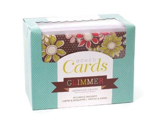 American Crafts Caja 40Tarjetas y Sobres, Glimmer