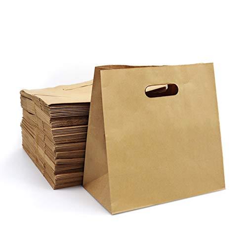 "Brown Paper Bags 100pcs 11x6x11"" Kslong Kraft Shopping Bags with Handles, Paper Shopping Bags, Grocery Bags, Gift Bags, Retail Bags with Die Cut Handle Bulk"