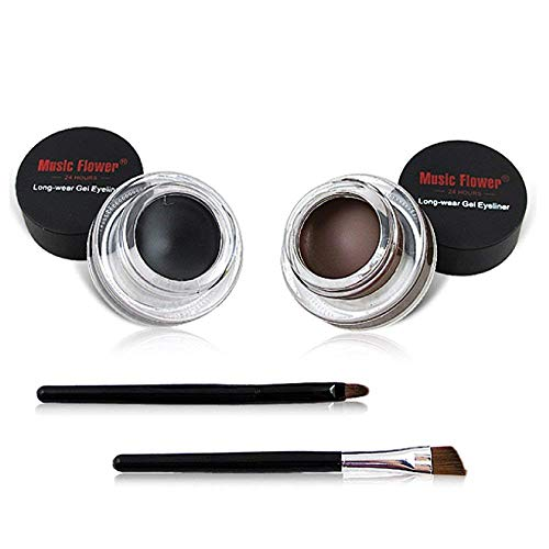 2 in 1 Black and Brown Gel Eyeliner Set Water Proof Smudge Proof, Last for All Day Long, Work Great with Eyebrow, 2 Pieces Eye Makeup Brushes Included