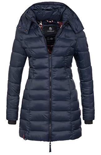 Marikoo Herbst Winter Übergangs Steppmantel Jacke Mantel gesteppt B603 [B603-Abend-Navy-Gr.S]