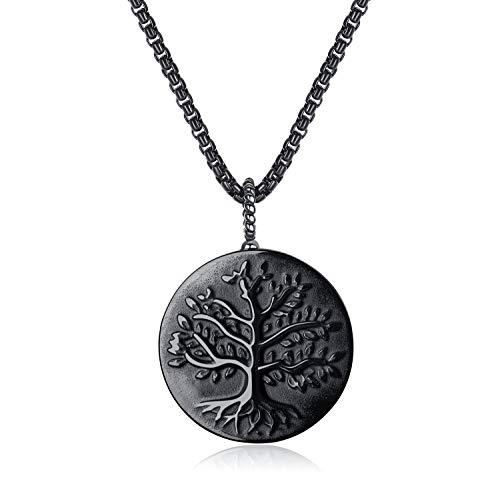 coai Geschenkideen Unisex Halskette mit Lebensbaum Anhänger aus Obsidian Baum des Lebens Medaillon