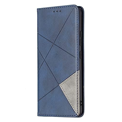 Oppo A16 / A16S / A54S - Funda de piel con tapa con imán invisible y ranura para tarjetas, funda de protección para bolsa en forma de diamante, color azul