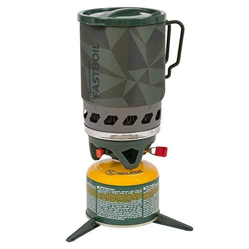 HIGHLANDER Réchaud de Camping à Lame Fastboil Mk3 de Brûleur portatif Compact avec Pot de 1,1 L - Idéal pour Les campeurs, la randonnée et la pêche (Olive)