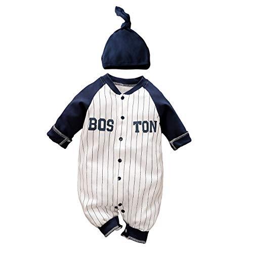 IURNXB Recién Nacido Pijama Bebé Pelele Niños Mameluco Algodón con Sombrero Caricatura Trajes 0-24 Meses