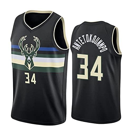 GFQTTY Camisetas De Baloncesto, Milwaukee Bucks # 34 Alphabet Brother Uniforme De Baloncesto City Edition Jerseys Malla Bordada Resistente Al Desgaste Camiseta De La NBA De Secado Rápido