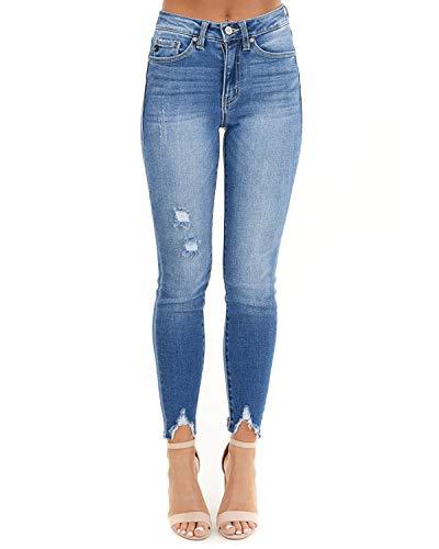 Dorimis Pantalones Vaqueros Mujer Elásticos Talle Alto Rotos Mezclilla Bolsillos Push Up Tallas Grandes Jeans B-Azul Claro XXL