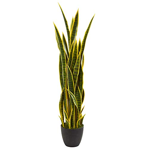Nearly Natural 4' Sansevieria Artificial Silk Plants Green