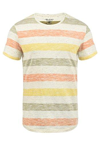 Blend Efkin Herren T-Shirt Kurzarm Shirt Mit Streifen Und Rundhalsausschnitt, Größe:M, Farbe:Jaffa Orange (72514)