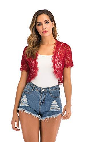 Enjoyoself Womens haalt lichtgewicht kant korte mouw open voorzijde bolero vest cover up - rood - L