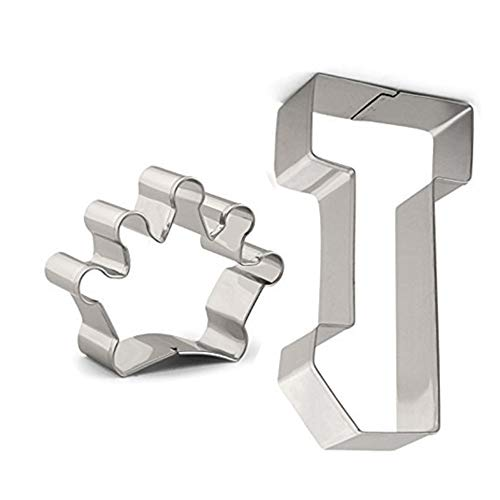 Large Number One and Crown Cookie Cutter Set - 2 PCS - Stainless Steel