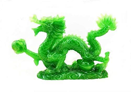 DMtse Chinesischer Feng Shui-Drache, Glücksbringer, Jade-Figur, Statue für Glück und Erfolg, 10,2 cm lang
