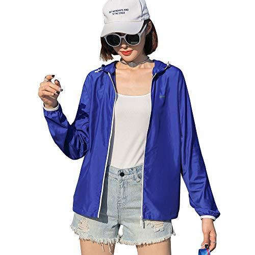 Sidiou Group Indumenti di Protezione Solare Giacca Anti UV UPF50+ Cappotto Pelle Antivento Impermeabile Giacche Asciutta Rapida Giacca da Corsa Pesca Ciclismo Giacca a Vento Leggera (1469-blu, XL)