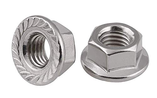 AISI 304 Stainless Steel 3//8-24 Hex Flange Nuts with Serrations 30 pcs 18-8